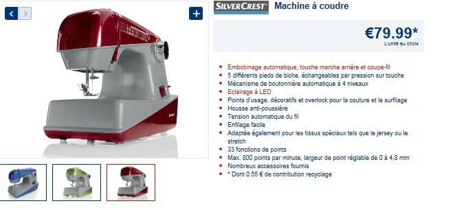 """machine a coudre""""édition"""" lidl"""